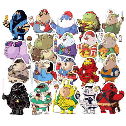 "32 PCS ""Chubby Heroes"" Waterproof Stickers"