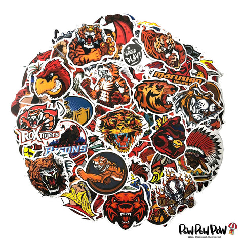 "100 PCS ""Red Fury"" Waterproof Stickers"