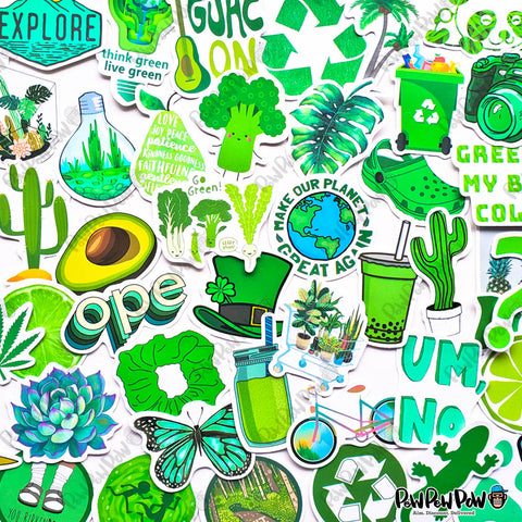"50 PCS ""Go Green"" Vinyl Sticker Pack"