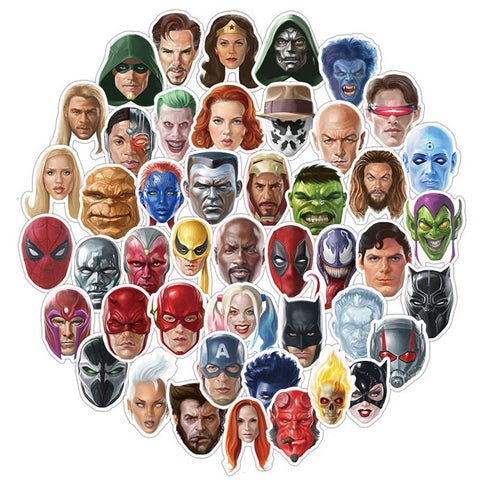 "50 PCS ""Superhero Portrait"" Waterproof Stickers"
