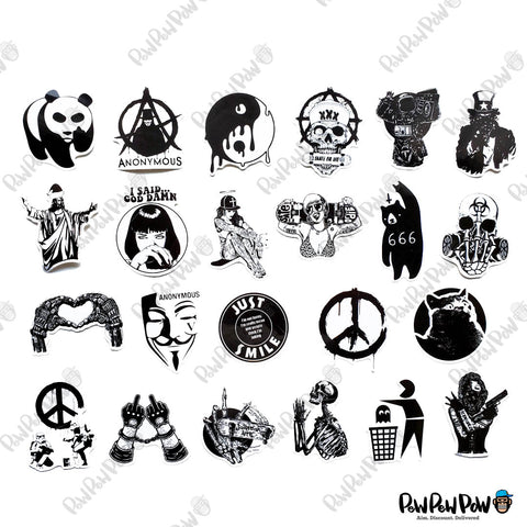 100 PCS Black & White Waterproof Stickers-No Duplicates-SALE