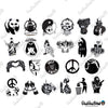 Image of 100 PCS Black & White Waterproof Stickers-No Duplicates-SALE
