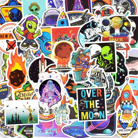 "50 PCS ""Alien UFO"" theme Stickers"