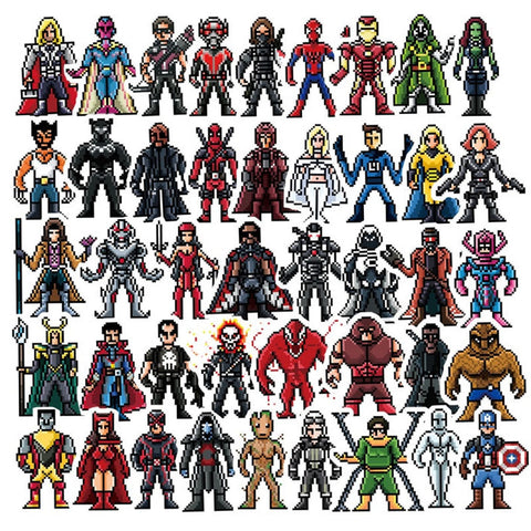 "60 PCS ""Pixel Heroes"" Stickers"