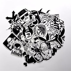 Special Edition-50 PCS B&W Waterproof PVC Stickers- Random-No Duplicate