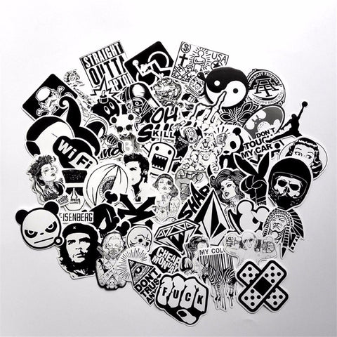 Special Edition-50 PCS B&W Waterproof PVC Stickers