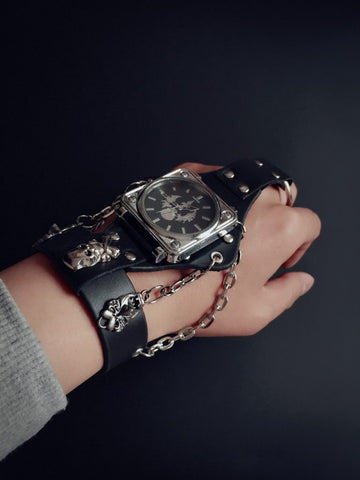 Punk Rock Black Leather Bracelet Wrist Watch- Unisex