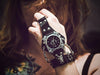 Image of Punk Rock Black Leather Bracelet Wrist Watch- Unisex