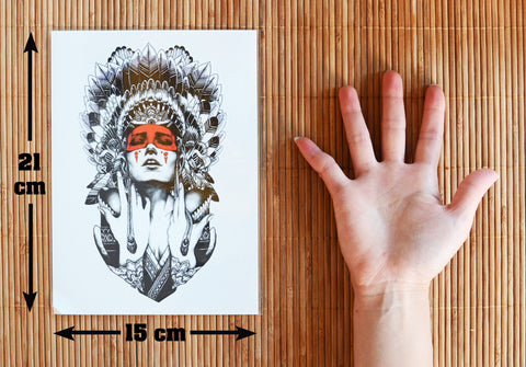 Removable & Waterproof TRIBAL Temporary Tattoo-Large Sheet 21cmx15cm