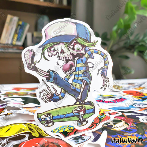"50 PCS ""Skeleton & Skull"" Vinyl Sticker Pack"