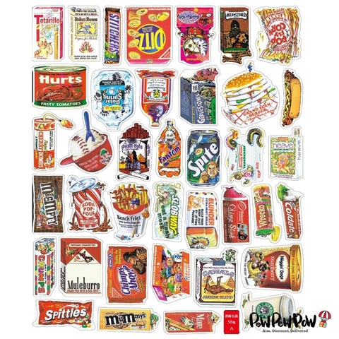"75 PCS ""Snacks"" Waterproof Stickers"