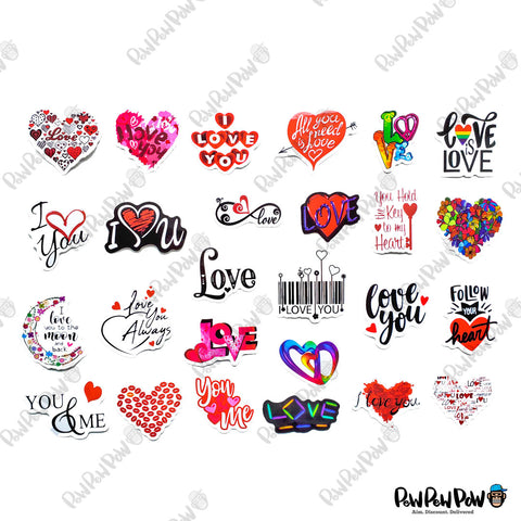 "50 PCS ""Valentines Day"" Vinyl Sticker Pack"