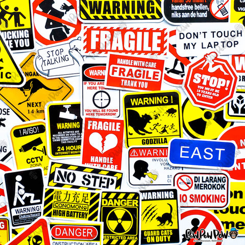 "50 PCS ""Warning Signs"" Vinyl Sticker Pack"