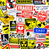 "Image of 50 PCS ""Warning Signs"" Vinyl Sticker Pack"