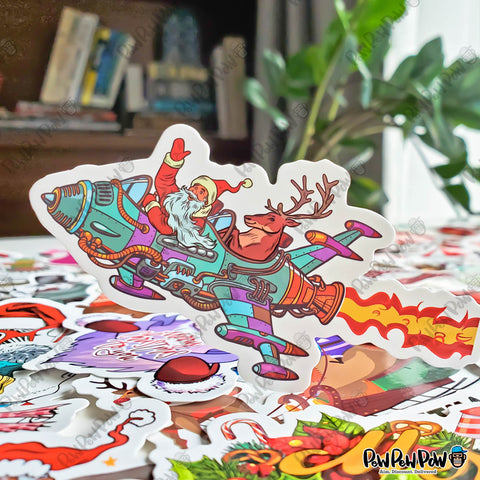 "50 PCS ""Merry Christmas"" Vinyl Stickers"