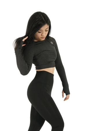 Bold Crop-Top Long Sleeve Black - Modern Vision