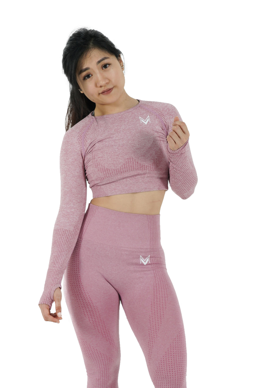 Bold Crop-Top Long Sleeve Rose Pink - Modern Vision