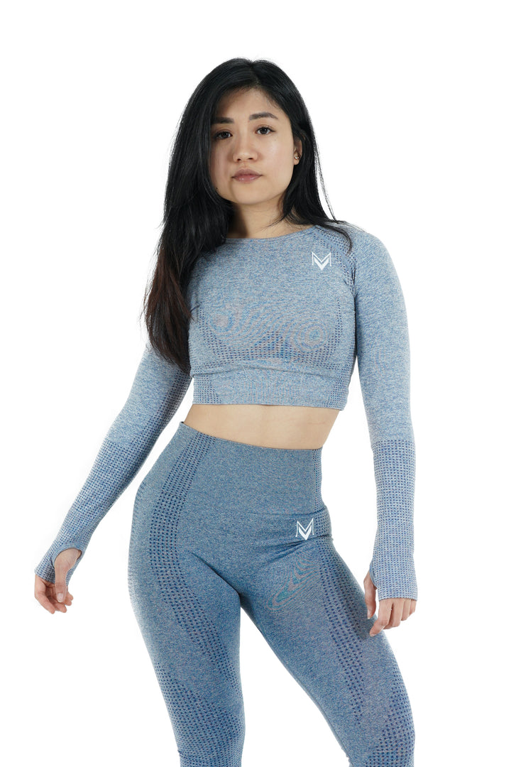 Bold Crop-Top Long Sleeve Steel Blue - Modern Vision