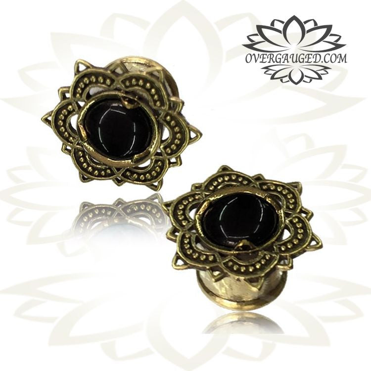Pair ornate brass tunnels tribal lotus flower earrings with onyx pair ornate brass tunnels tribal lotus flower earrings with onyx stone inlay tribal brass plugs double flared gauges tribal body jewelry mightylinksfo