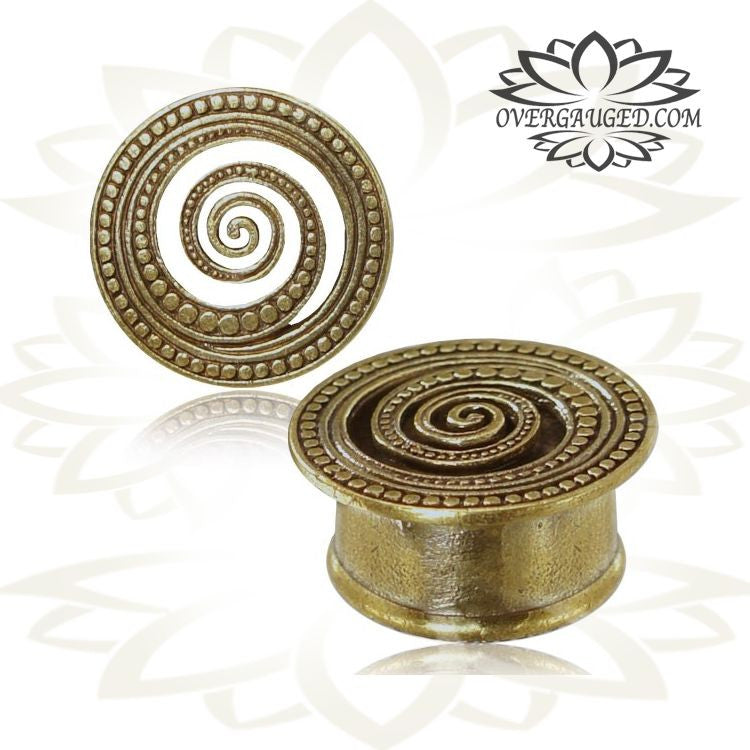 TRIBAL ORNATE WHEEL OF KARMA BRASS SPIRAL TUNNELS PLUGS GAUGES PLUGS PLUG EAR
