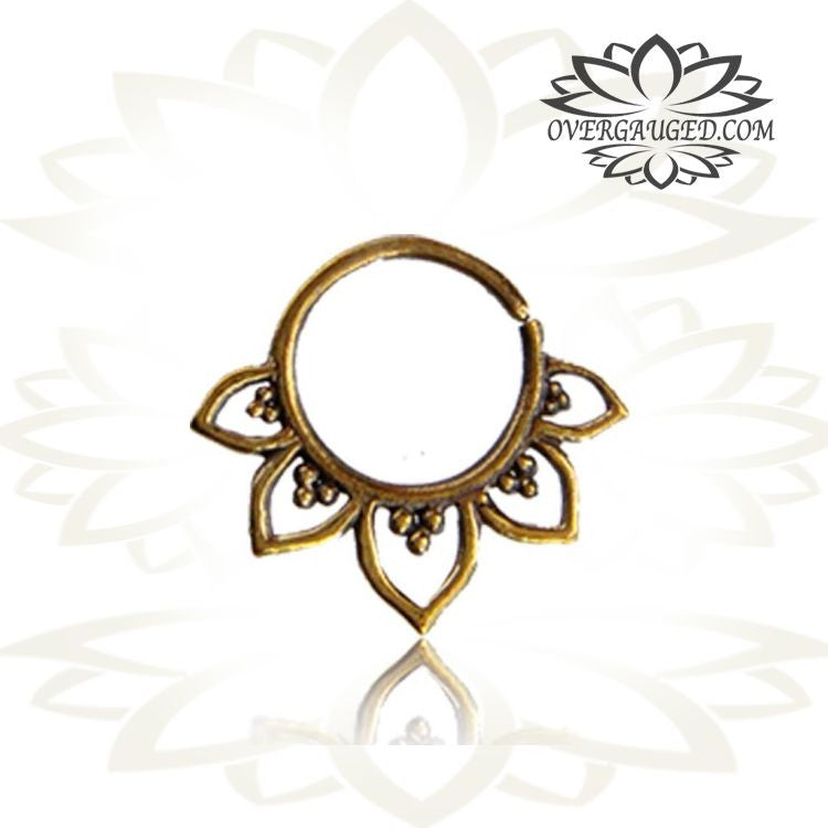 Single Brass Septum Ring Lotus Flower Tribal Brass Septum Ring