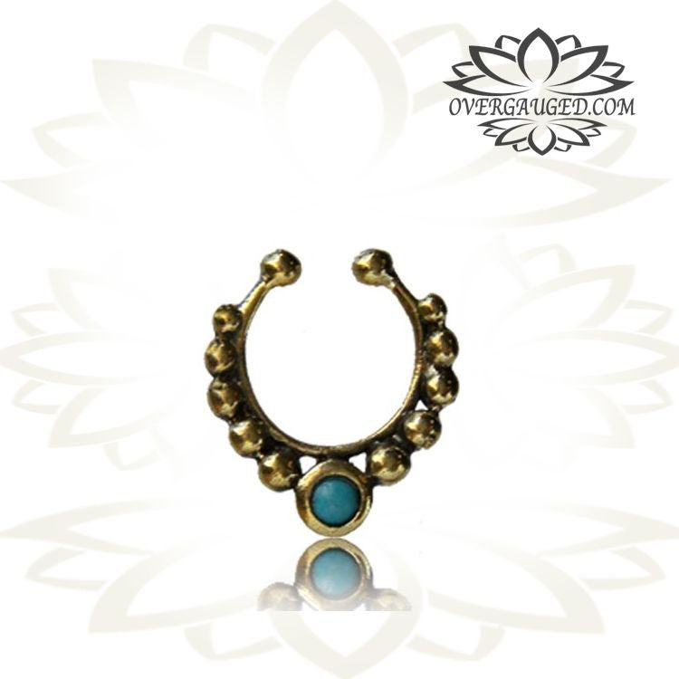Single Fake Tribal Brass Septum With Turquoise Stone Non Piercing