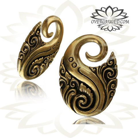 PAIR 4G WHITE BRASS COIL TWISTS EAR WEIGHTS PLUGS TUNNELS STRETCH GAUGE HOOPS