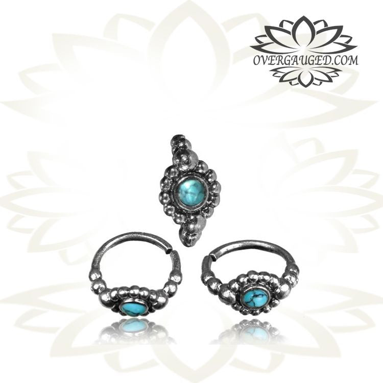 A Single Sterling Silver Nose Ring Tribal Flower Nose Ring With