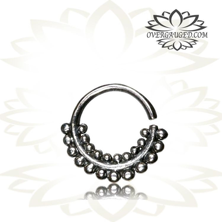Single 16g Silver Septum Ring Antiqued Afghan Tribal Dots Silver