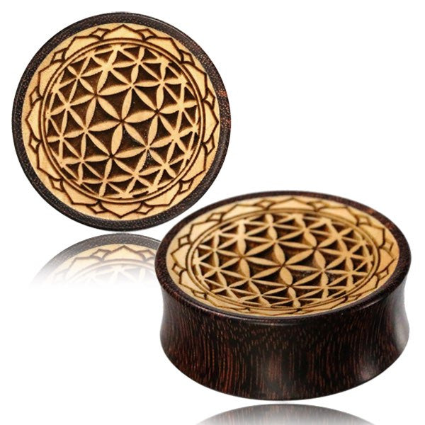 Brown Flower Carved Dark Body Wood Organic Plug Double Flare