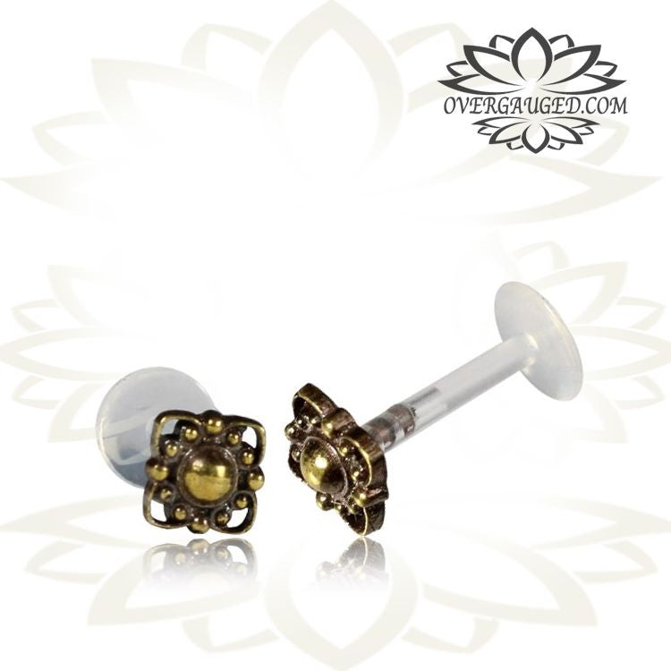 Single 16g Brass Labret 16g Tragus Earring Indian Style Brass