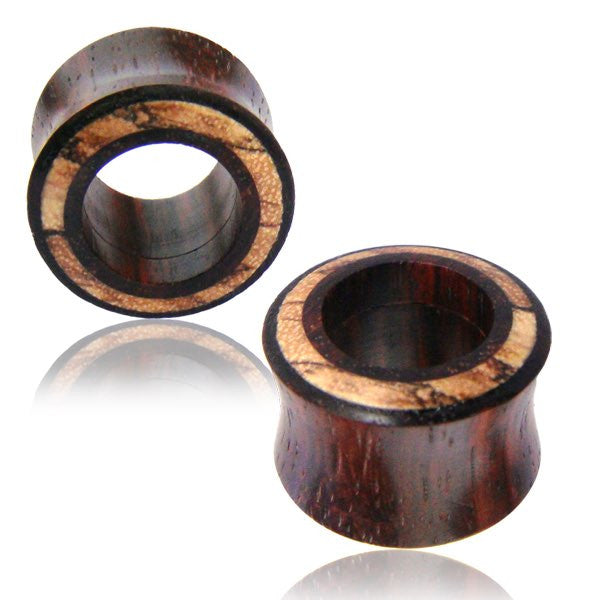 1 PAIR Organic Wood Ear Plugs Gauges Brown Sono Double Flare Saddle