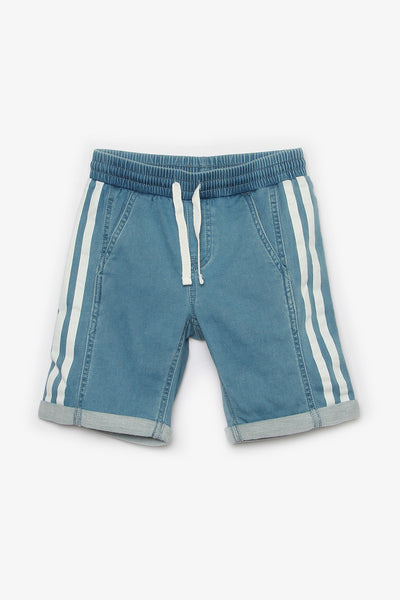 Denim Shorts with Side Stripes