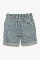 FOX BABY Boy Striped Textured Denim Shorts
