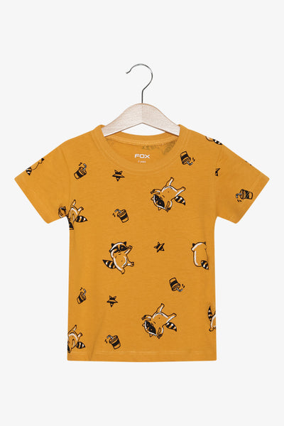 FOX Newborn & Baby All Over Raccoon Printed Tee