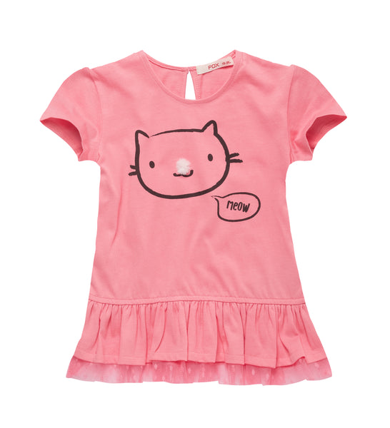 Ruffle Hem Kitty Tee with Pom-pom