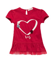Ruffle Hem Heart Tee with Pom-pom