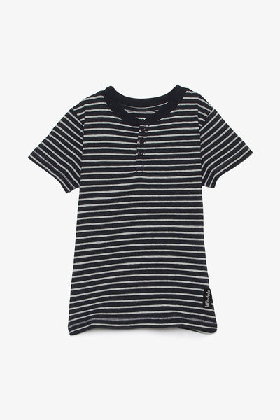 FOX BABY Boy Short Sleeve Striped Henley Tee