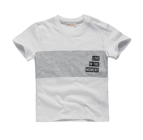 Colour Block Tee with Slogan