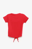 FOX Baby Girl Front-Tie Tee with Glitter Design