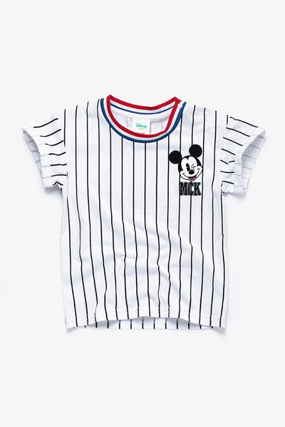 FOX BABY Boy Mickey Mouse Striped Printed Tee