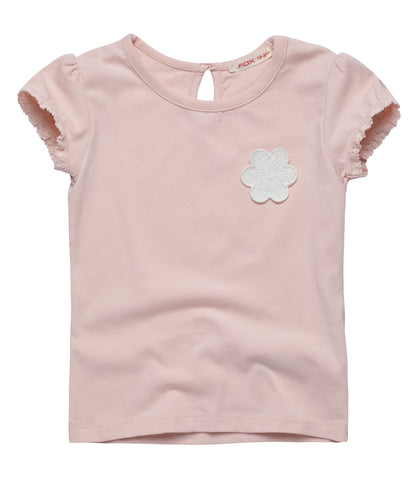 Tee with Flower badge and Frill Sleeve