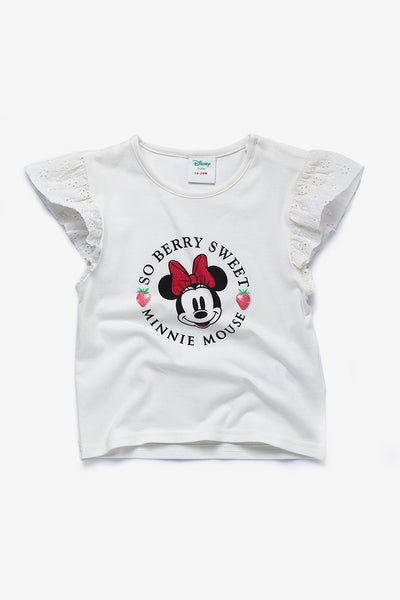 FOX BABY Girl Minnie Mouse Printed Tee with Flutter Sleeves