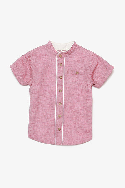 FOX Baby Boy Mandarin Collar Button Up Shirt
