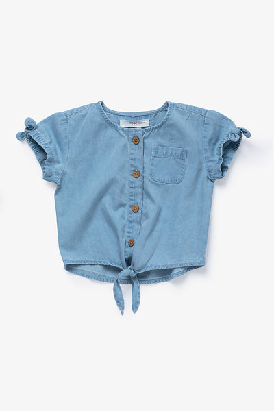 FOX BABY Girl Crop Denim Shirt with Front-Tie