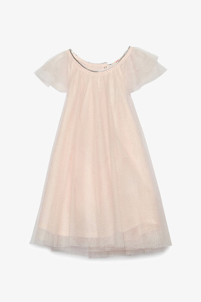 FOX BABY Girl Short Sleeve Tulle Dress with Silver Glitter