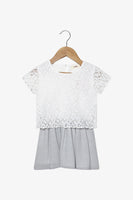 FOX Newborn & Baby Short Sleeve Lace Metallic Dress
