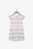 FOX Newborn & Baby Flutter Sleeve Rainbow Stripes Dress