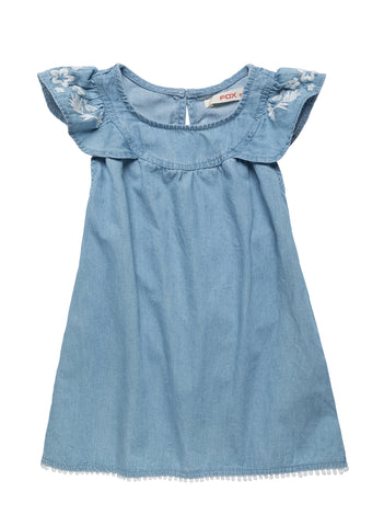 Embroidered Sleeve Denim Dress