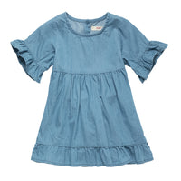Denim Dress with Frilly Sleeve